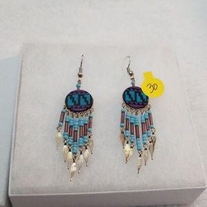 Earrings, NWT, danglea, Silver & blue mix